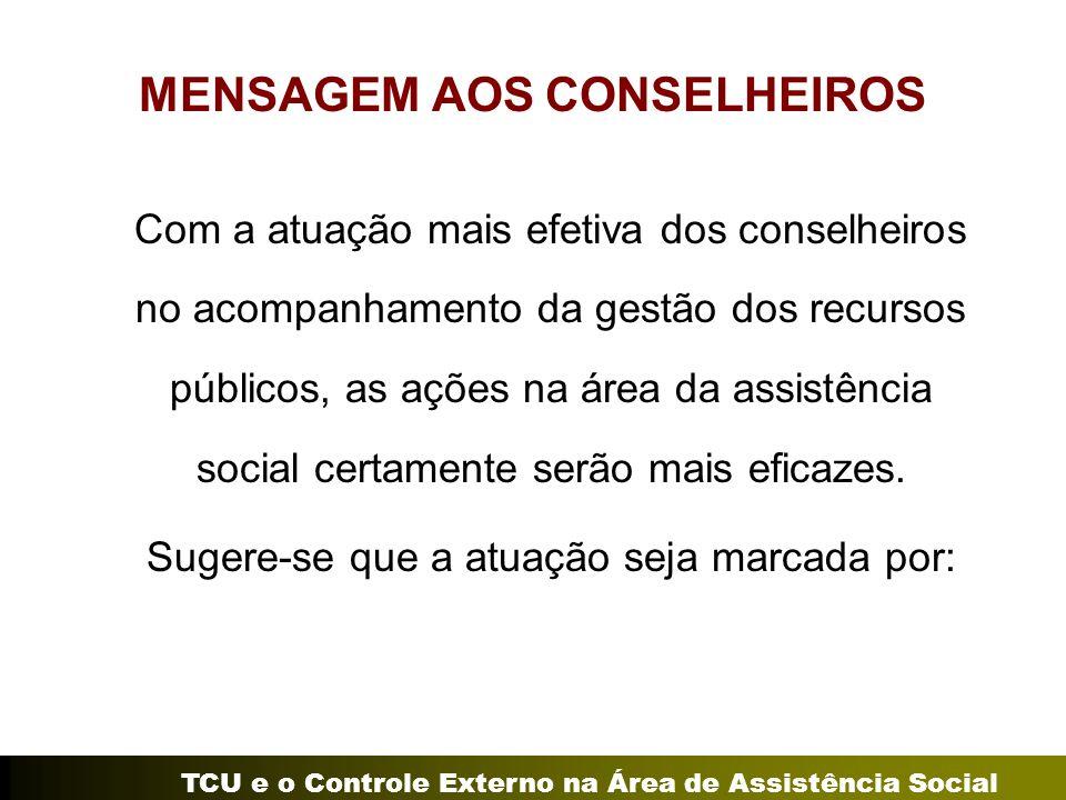 TCU e o Controle Externo na Área de Assistência Social MENSAGEM AOS CONSELHEIROS Com a atuação mais efetiva dos conselheiros no acompanhamento da gest
