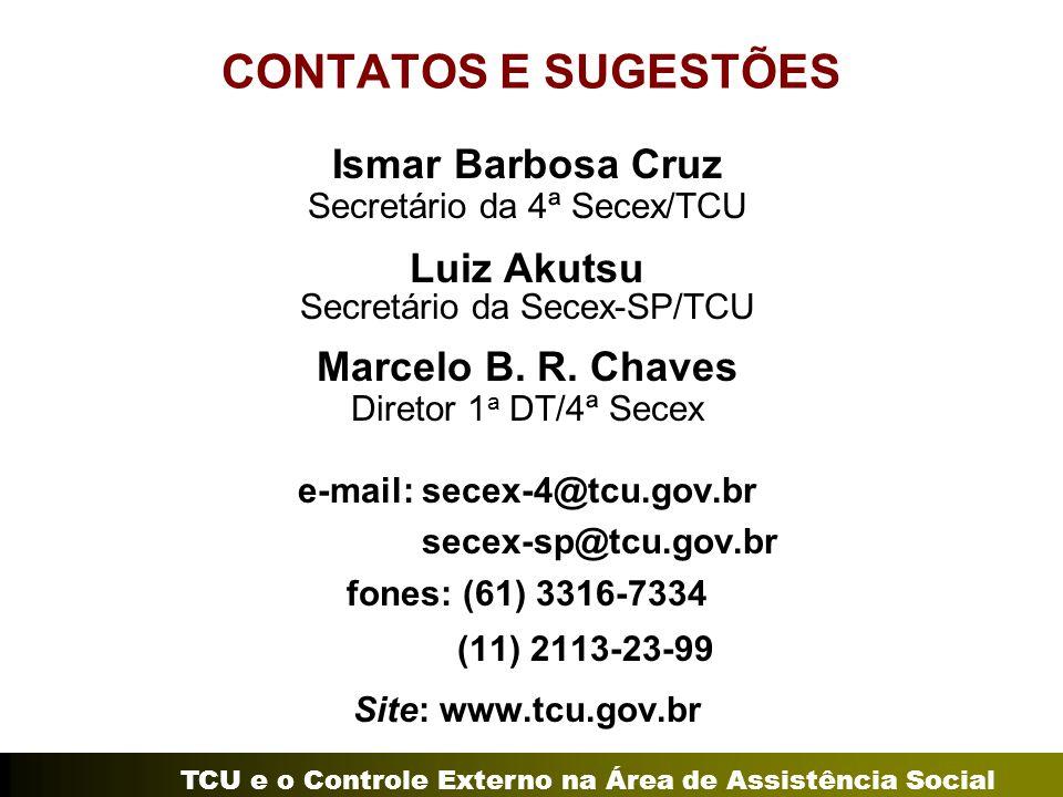 TCU e o Controle Externo na Área de Assistência Social CONTATOS E SUGESTÕES Ismar Barbosa Cruz Secretário da 4ª Secex/TCU Luiz Akutsu Secretário da Secex-SP/TCU Marcelo B.