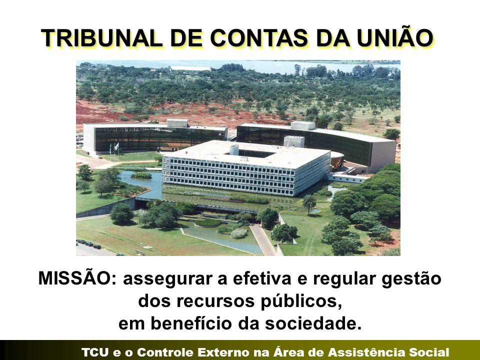 TCU e o Controle Externo na Área de Assistência Social MISSÃO: assegurar a efetiva e regular gestão dos recursos públicos, em benefício da sociedade.