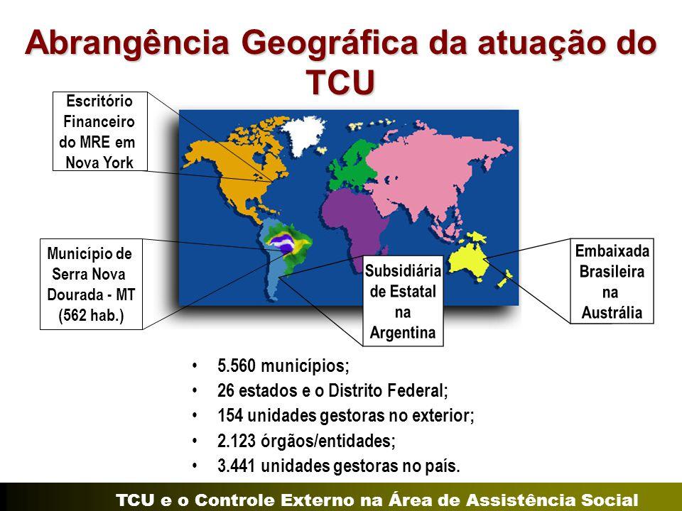 TCU e o Controle Externo na Área de Assistência Social Abrangência Geográfica da atuação do TCU 5.560 municípios; 26 estados e o Distrito Federal; 154
