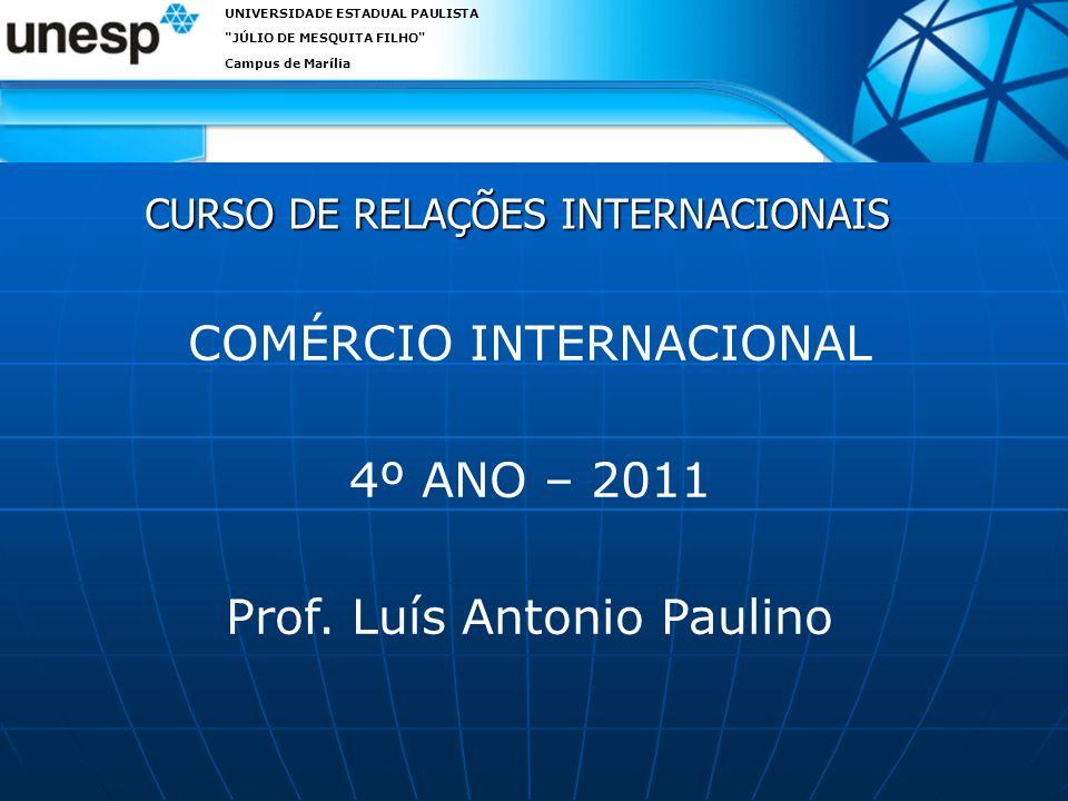 CURSO DE RELAÇÕES INTERNACIONAIS UNIVERSIDADE ESTADUAL PAULISTA JÚLIO DE MESQUITA FILHO Campus de Marília COMÉRCIO INTERNACIONAL 4º ANO – 2011 Prof.
