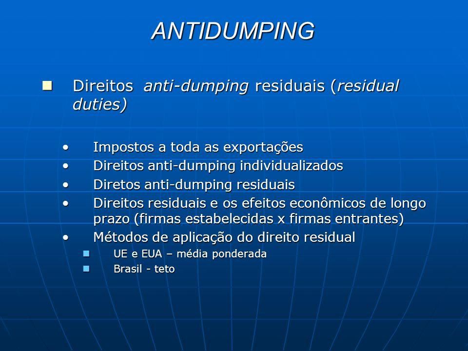 ANTIDUMPING Direitos anti-dumping residuais (residual duties) Direitos anti-dumping residuais (residual duties) Impostos a toda as exportaçõesImpostos a toda as exportações Direitos anti-dumping individualizadosDireitos anti-dumping individualizados Diretos anti-dumping residuaisDiretos anti-dumping residuais Direitos residuais e os efeitos econômicos de longo prazo (firmas estabelecidas x firmas entrantes)Direitos residuais e os efeitos econômicos de longo prazo (firmas estabelecidas x firmas entrantes) Métodos de aplicação do direito residualMétodos de aplicação do direito residual UE e EUA – média ponderada UE e EUA – média ponderada Brasil - teto Brasil - teto