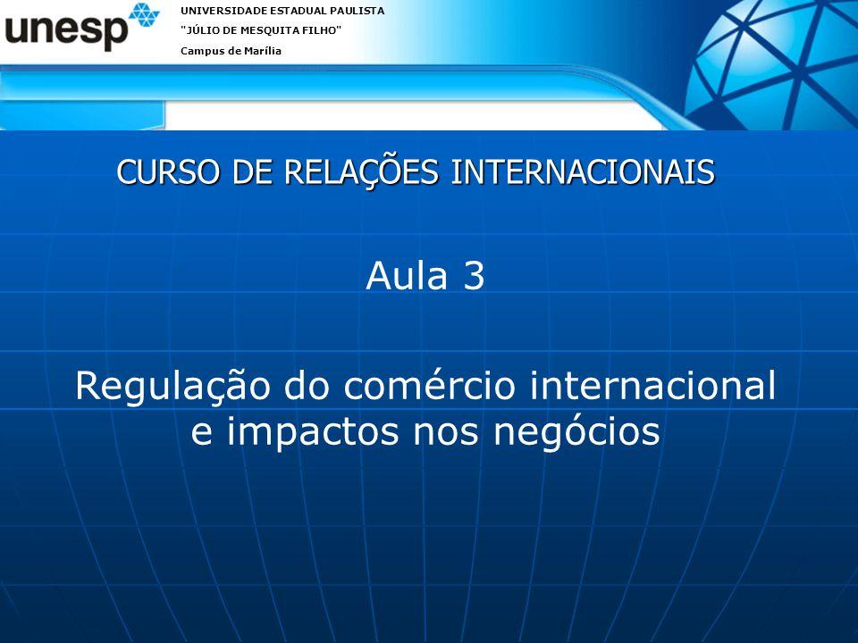 CURSO DE RELAÇÕES INTERNACIONAIS UNIVERSIDADE ESTADUAL PAULISTA JÚLIO DE MESQUITA FILHO Campus de Marília Aula 3 Regulação do comércio internacional e impactos nos negócios