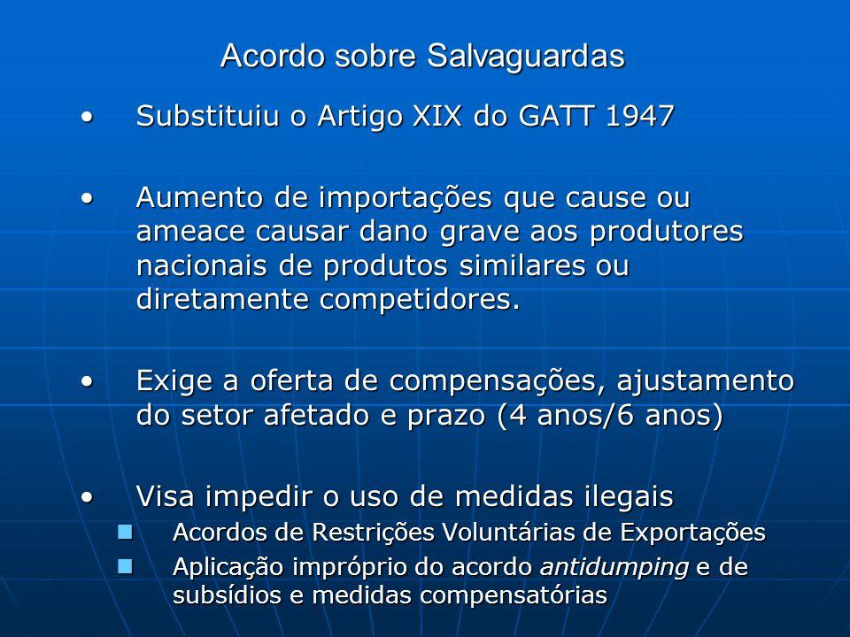 Acordo sobre Salvaguardas Substituiu o Artigo XIX do GATT 1947Substituiu o Artigo XIX do GATT 1947 Aumento de importações que cause ou ameace causar dano grave aos produtores nacionais de produtos similares ou diretamente competidores.Aumento de importações que cause ou ameace causar dano grave aos produtores nacionais de produtos similares ou diretamente competidores.