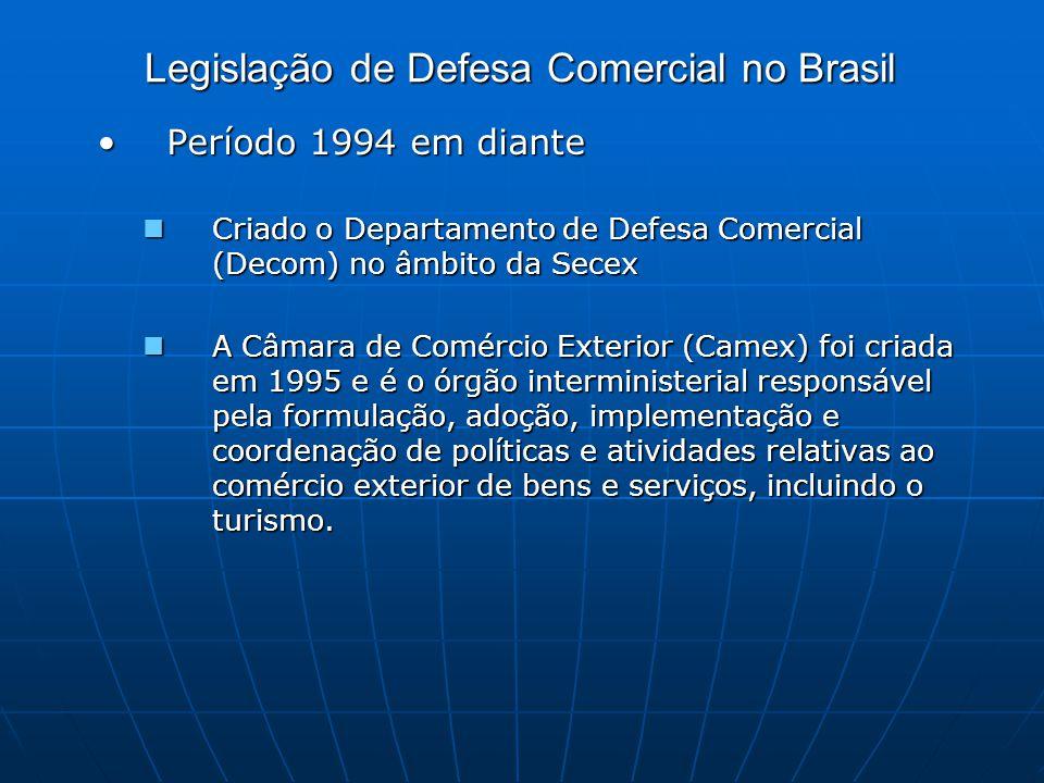 Legislação de Defesa Comercial no Brasil Período 1994 em diantePeríodo 1994 em diante Criado o Departamento de Defesa Comercial (Decom) no âmbito da Secex Criado o Departamento de Defesa Comercial (Decom) no âmbito da Secex A Câmara de Comércio Exterior (Camex) foi criada em 1995 e é o órgão interministerial responsável pela formulação, adoção, implementação e coordenação de políticas e atividades relativas ao comércio exterior de bens e serviços, incluindo o turismo.