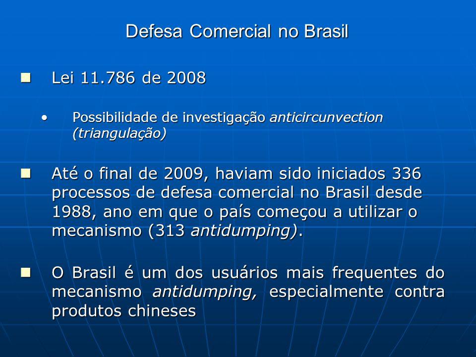 Defesa Comercial no Brasil Lei 11.786 de 2008 Lei 11.786 de 2008 Possibilidade de investigação anticircunvection (triangulação)Possibilidade de investigação anticircunvection (triangulação) Até o final de 2009, haviam sido iniciados 336 processos de defesa comercial no Brasil desde 1988, ano em que o país começou a utilizar o mecanismo (313 antidumping).