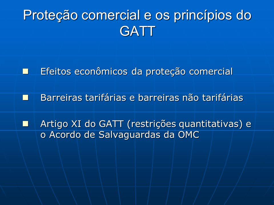Proteção comercial e os princípios do GATT Efeitos econômicos da proteção comercial Efeitos econômicos da proteção comercial Barreiras tarifárias e barreiras não tarifárias Barreiras tarifárias e barreiras não tarifárias Artigo XI do GATT (restrições quantitativas) e o Acordo de Salvaguardas da OMC Artigo XI do GATT (restrições quantitativas) e o Acordo de Salvaguardas da OMC