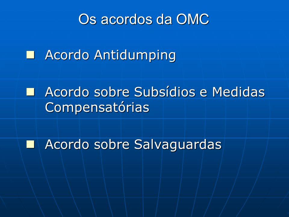 Os acordos da OMC Acordo Antidumping Acordo Antidumping Acordo sobre Subsídios e Medidas Compensatórias Acordo sobre Subsídios e Medidas Compensatórias Acordo sobre Salvaguardas Acordo sobre Salvaguardas