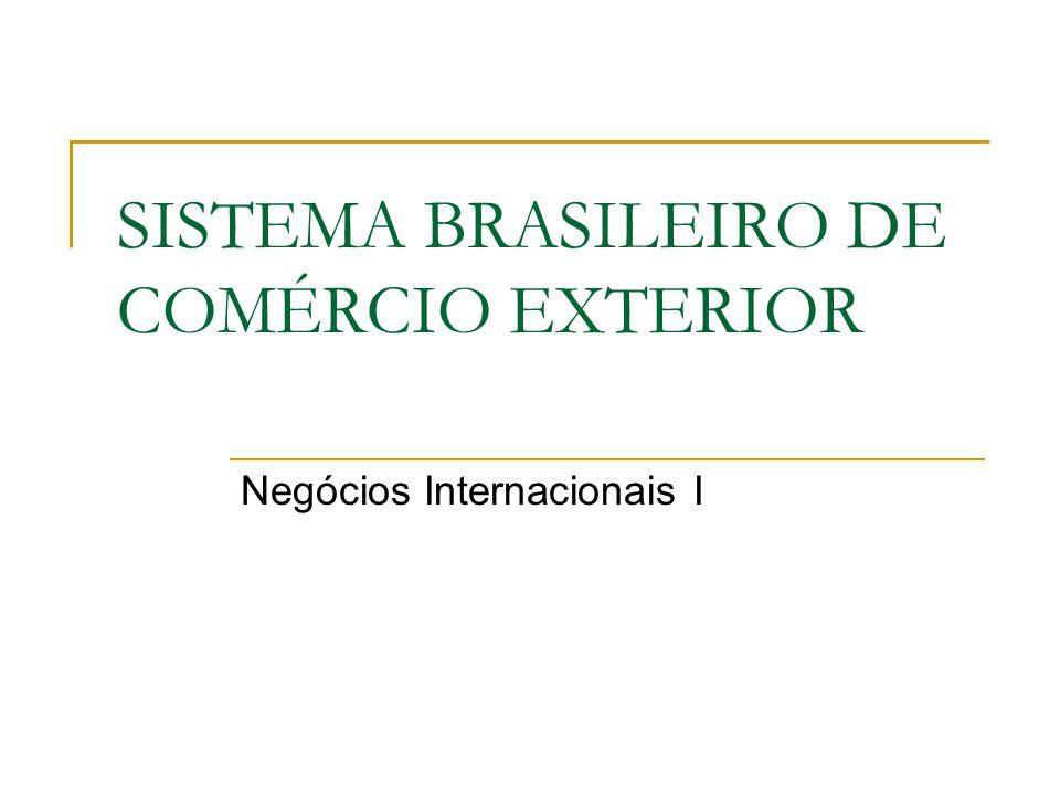 SISTEMA BRASILEIRO DE COMÉRCIO EXTERIOR Negócios Internacionais I
