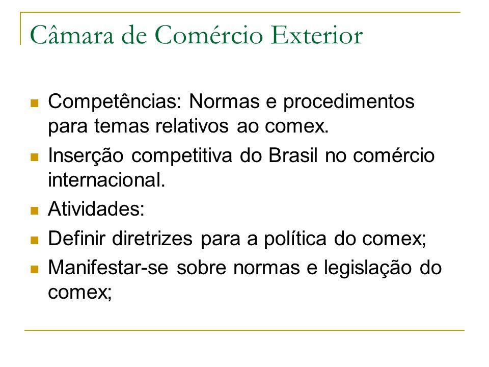 Câmara de Comércio Exterior Competências: Normas e procedimentos para temas relativos ao comex. Inserção competitiva do Brasil no comércio internacion