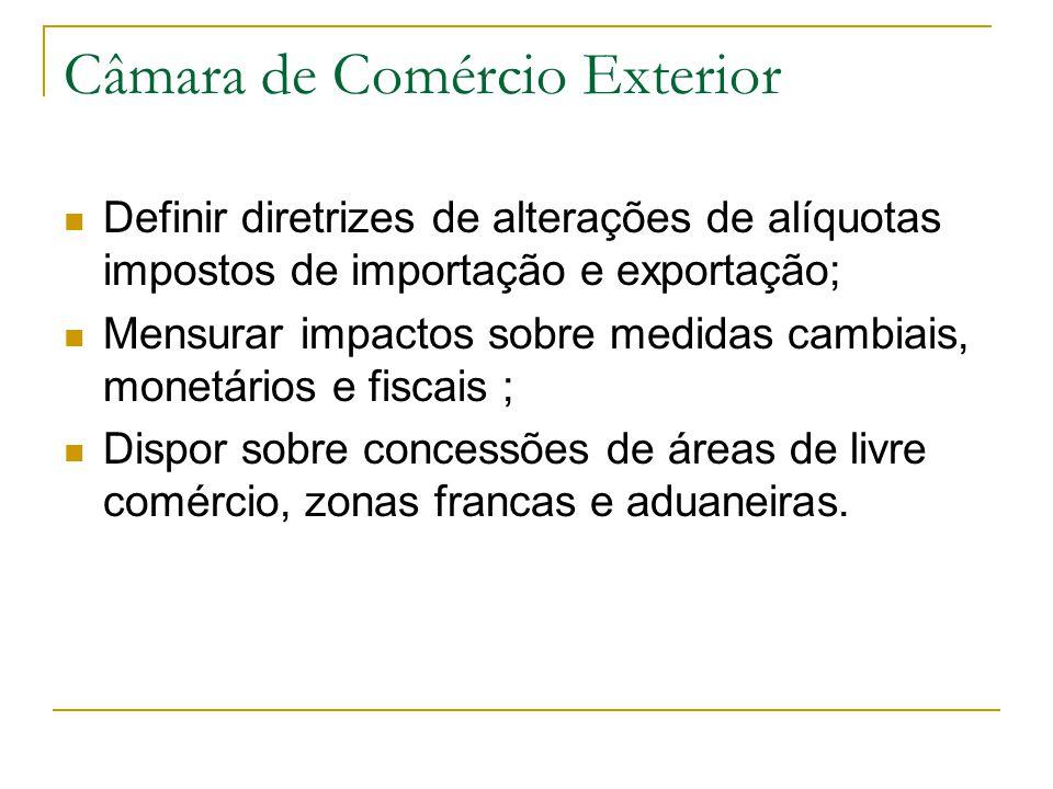 Câmara de Comércio Exterior Definir diretrizes de alterações de alíquotas impostos de importação e exportação; Mensurar impactos sobre medidas cambiai