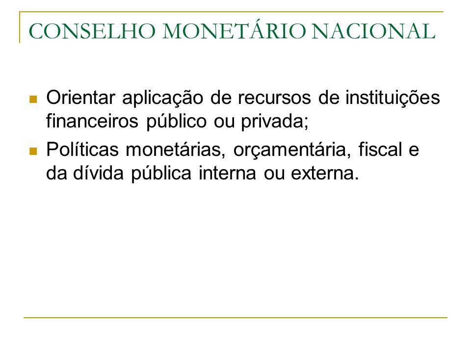 CONSELHO MONETÁRIO NACIONAL Orientar aplicação de recursos de instituições financeiros público ou privada; Políticas monetárias, orçamentária, fiscal