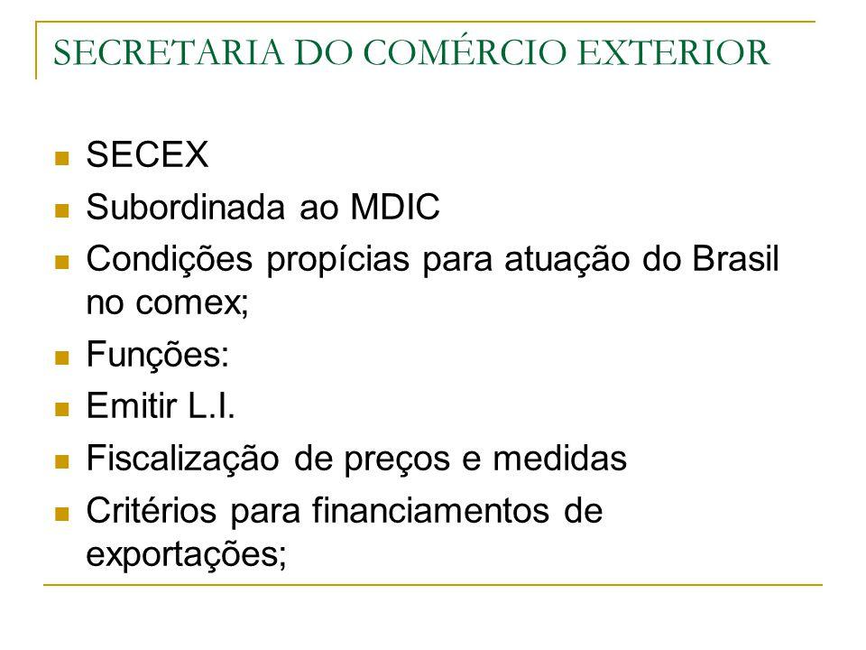 SECRETARIA DO COMÉRCIO EXTERIOR SECEX Subordinada ao MDIC Condições propícias para atuação do Brasil no comex; Funções: Emitir L.I. Fiscalização de pr