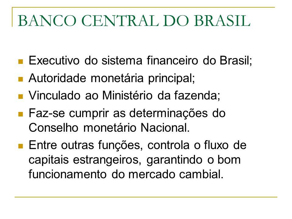 BANCO CENTRAL DO BRASIL Executivo do sistema financeiro do Brasil; Autoridade monetária principal; Vinculado ao Ministério da fazenda; Faz-se cumprir