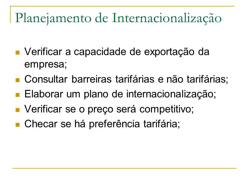 Planejamento de Internacionalização Verificar a capacidade de exportação da empresa; Consultar barreiras tarifárias e não tarifárias; Elaborar um plan
