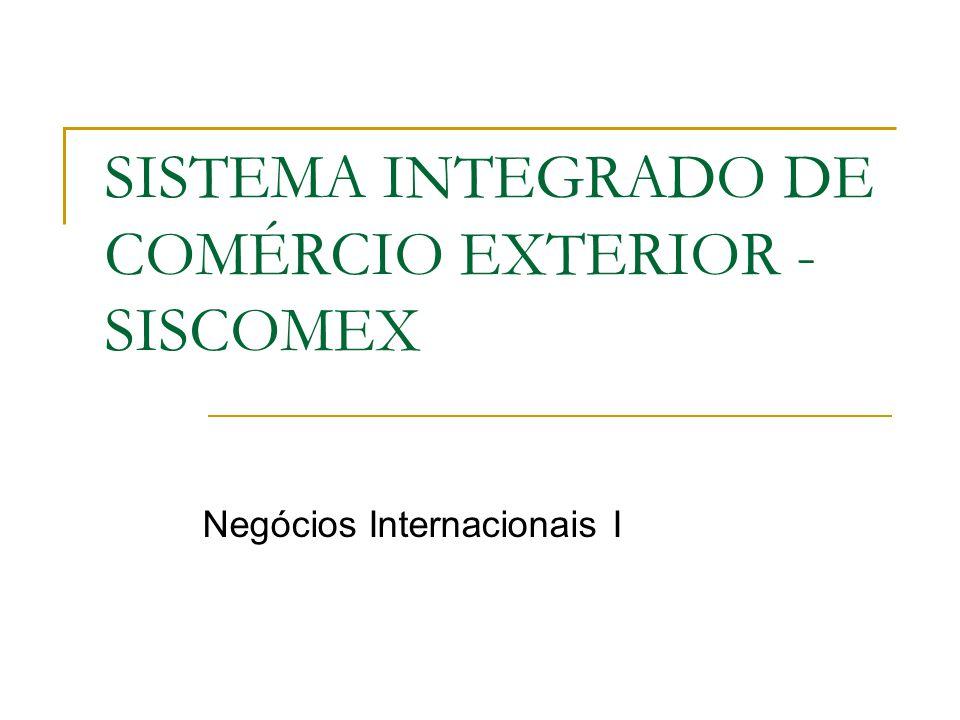 SISTEMA INTEGRADO DE COMÉRCIO EXTERIOR - SISCOMEX Negócios Internacionais I