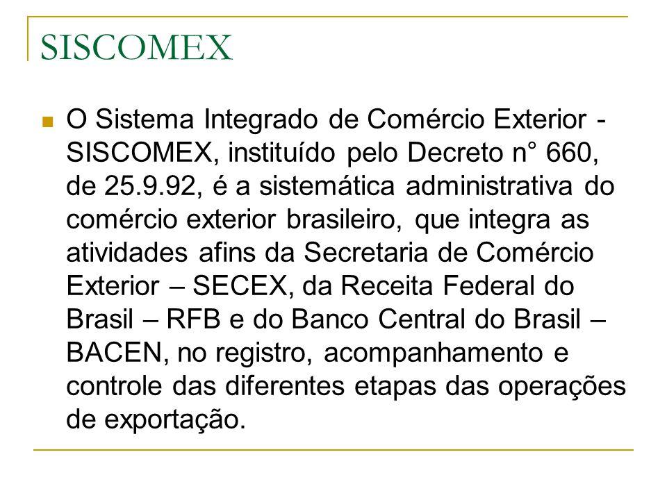 SISCOMEX O Sistema Integrado de Comércio Exterior - SISCOMEX, instituído pelo Decreto n° 660, de 25.9.92, é a sistemática administrativa do comércio e