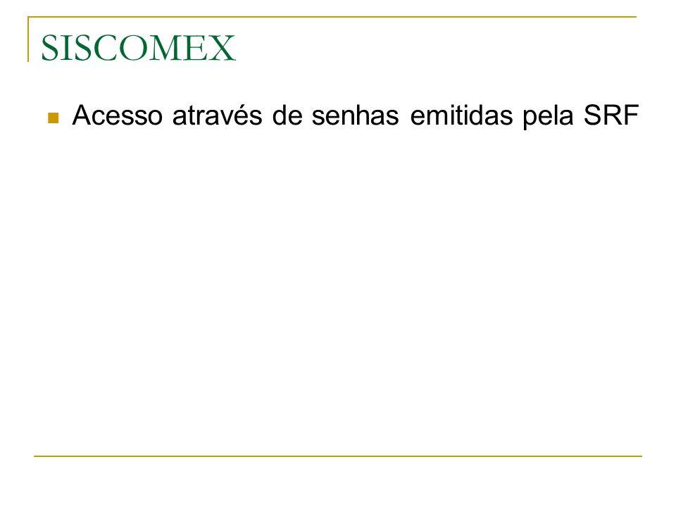 SISCOMEX Acesso através de senhas emitidas pela SRF
