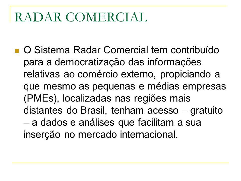 RADAR COMERCIAL O Sistema Radar Comercial tem contribuído para a democratização das informações relativas ao comércio externo, propiciando a que mesmo