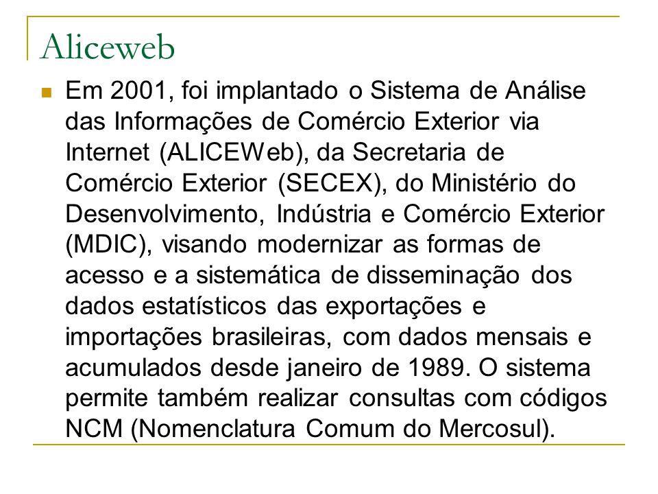 Aliceweb Em 2001, foi implantado o Sistema de Análise das Informações de Comércio Exterior via Internet (ALICEWeb), da Secretaria de Comércio Exterior