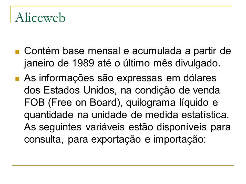Aliceweb Contém base mensal e acumulada a partir de janeiro de 1989 até o último mês divulgado. As informações são expressas em dólares dos Estados Un