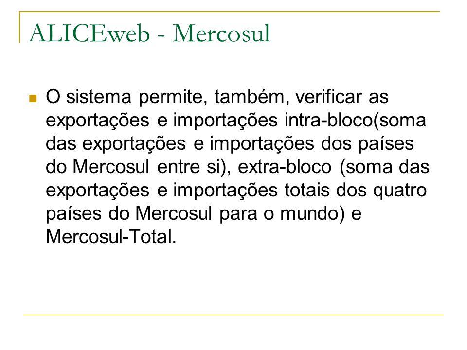 ALICEweb - Mercosul O sistema permite, também, verificar as exportações e importações intra-bloco(soma das exportações e importações dos países do Mer