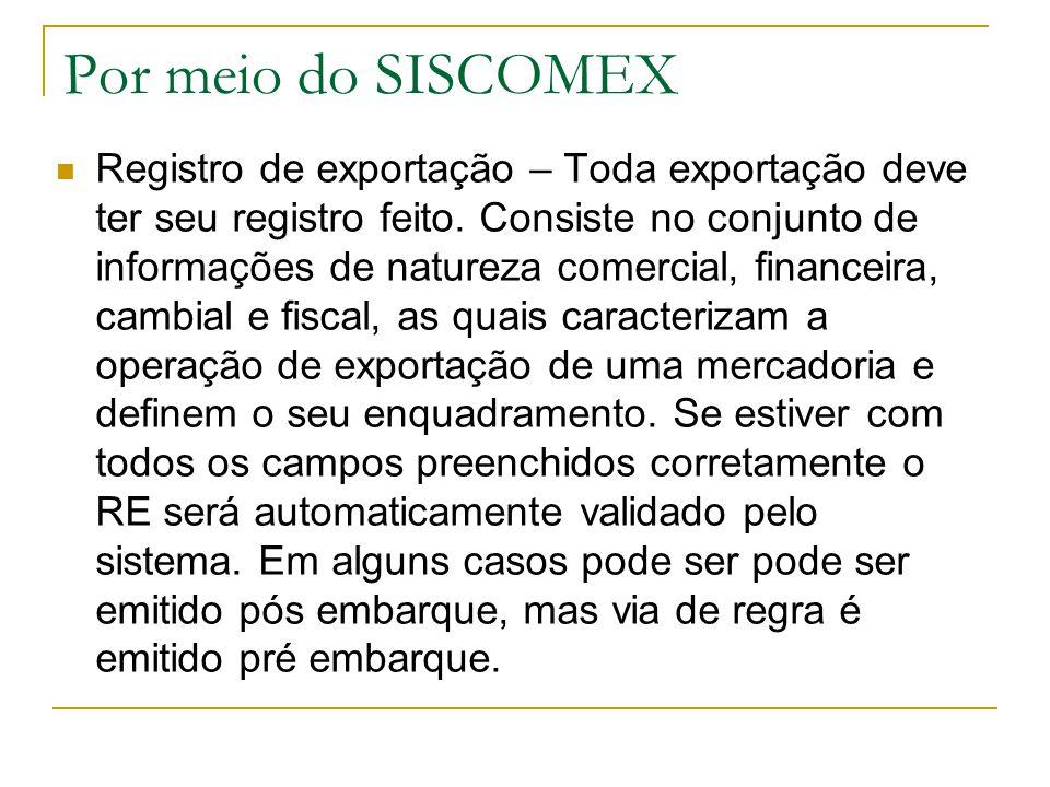 Por meio do SISCOMEX Registro de exportação – Toda exportação deve ter seu registro feito. Consiste no conjunto de informações de natureza comercial,