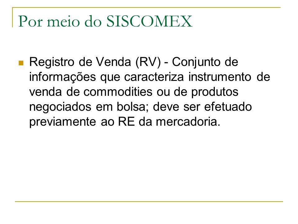 Por meio do SISCOMEX Registro de Venda (RV) - Conjunto de informações que caracteriza instrumento de venda de commodities ou de produtos negociados em