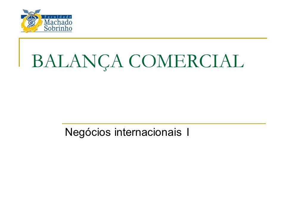 BALANÇA COMERCIAL Negócios internacionais I