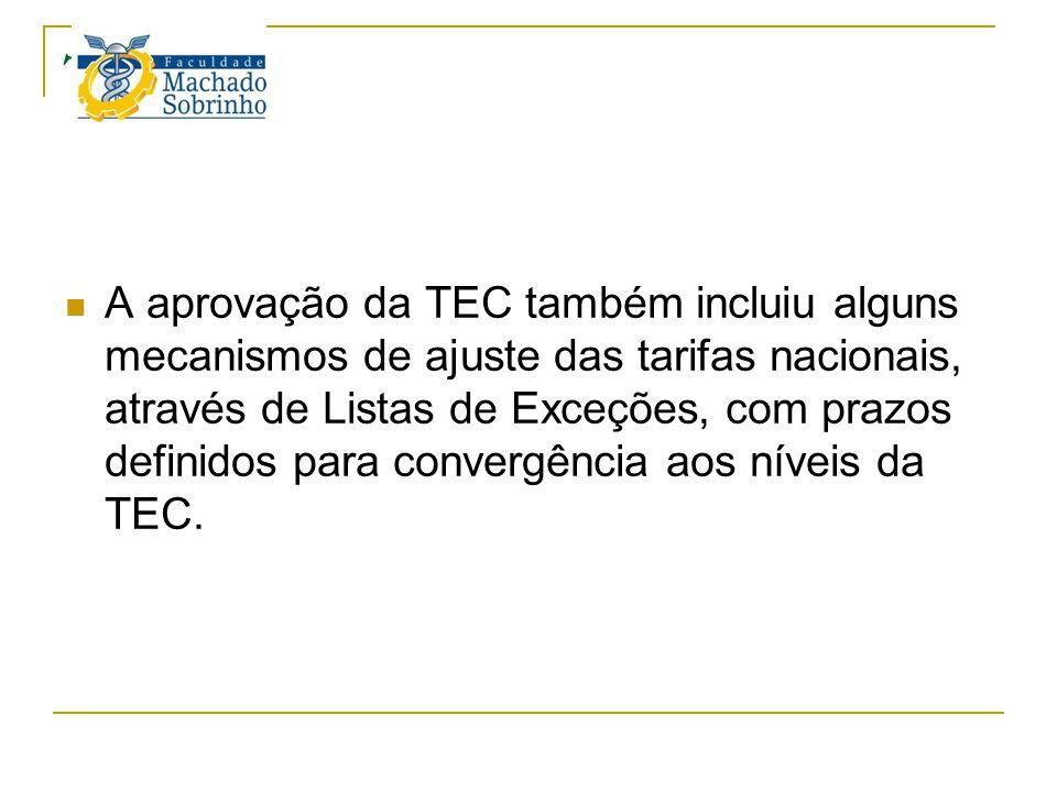 TEC A aprovação da TEC também incluiu alguns mecanismos de ajuste das tarifas nacionais, através de Listas de Exceções, com prazos definidos para conv