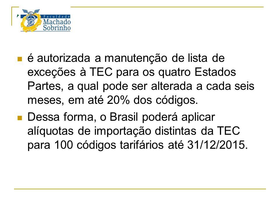 TEC é autorizada a manutenção de lista de exceções à TEC para os quatro Estados Partes, a qual pode ser alterada a cada seis meses, em até 20% dos cód
