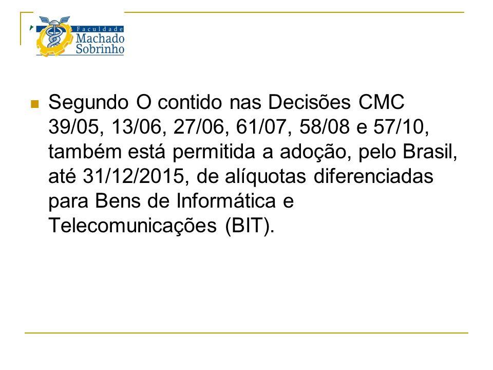 TEC Segundo O contido nas Decisões CMC 39/05, 13/06, 27/06, 61/07, 58/08 e 57/10, também está permitida a adoção, pelo Brasil, até 31/12/2015, de alíq