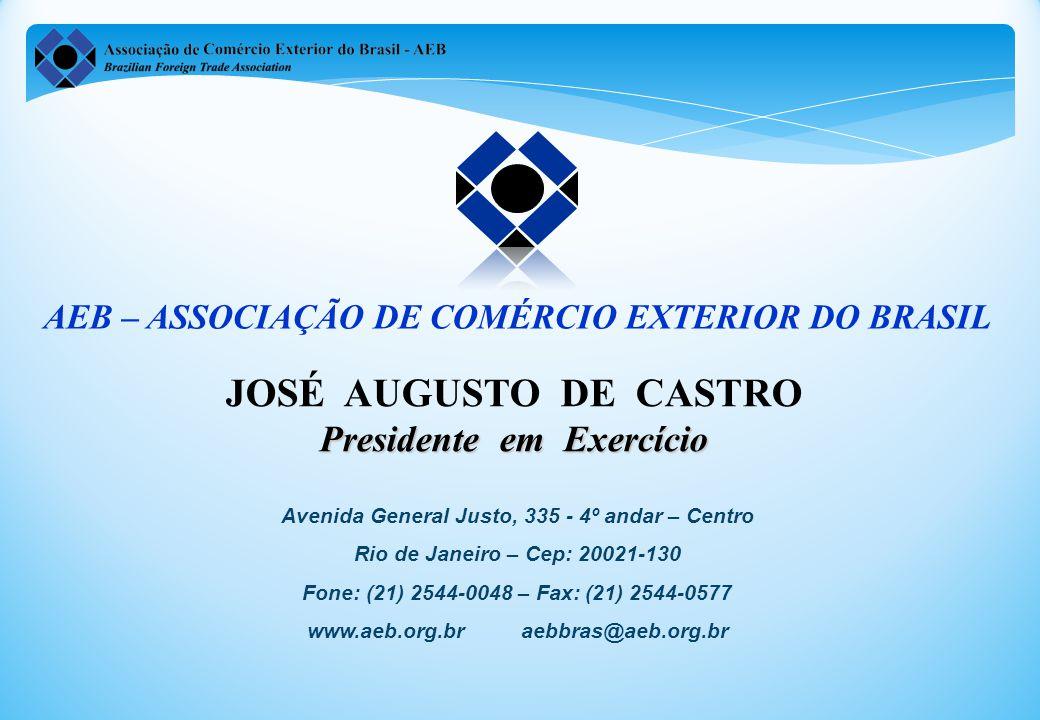 JOSÉ AUGUSTO DE CASTRO Presidente em Exercício Avenida General Justo, 335 - 4º andar – Centro Rio de Janeiro – Cep: 20021-130 Fone: (21) 2544-0048 – Fax: (21) 2544-0577 www.aeb.org.br aebbras@aeb.org.br AEB – ASSOCIAÇÃO DE COMÉRCIO EXTERIOR DO BRASIL