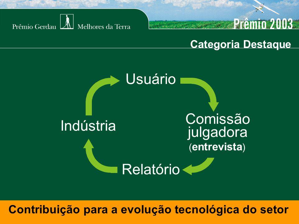 Categoria Destaque Contribuição para a evolução tecnológica do setor Usuário ( entrevista ) Comissão julgadora Indústria Relatório