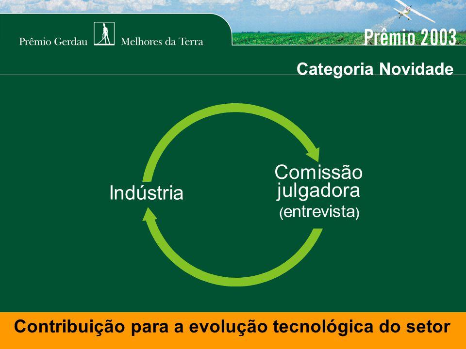 Categoria Novidade Contribuição para a evolução tecnológica do setor Indústria ( entrevista ) Comissão julgadora