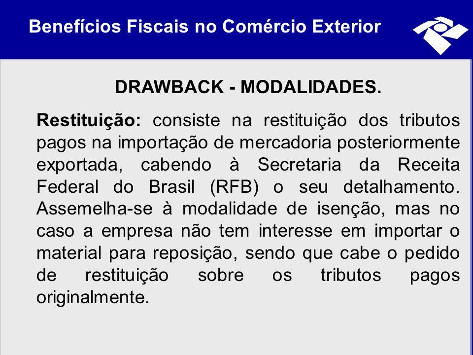 Benefícios Fiscais no Comércio Exterior DRAWBACK - MODALIDADES. Restituição: consiste na restituição dos tributos pagos na importação de mercadoria po
