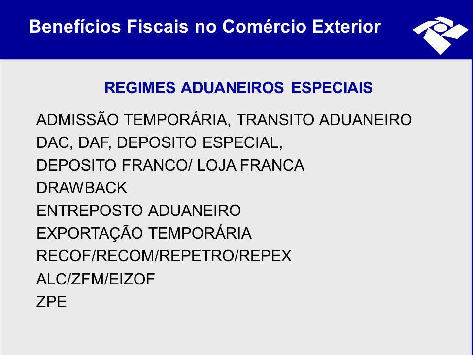 Benefícios Fiscais no Comércio Exterior REGIMES ADUANEIROS ESPECIAIS ADMISSÃO TEMPORÁRIA, TRANSITO ADUANEIRO DAC, DAF, DEPOSITO ESPECIAL, DEPOSITO FRA