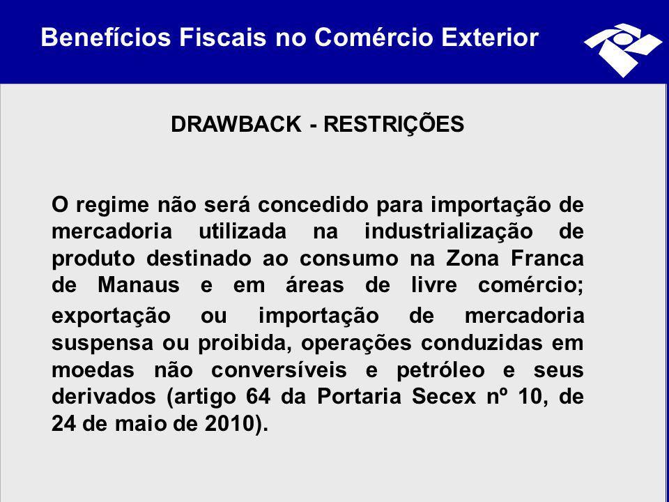 Benefícios Fiscais no Comércio Exterior DRAWBACK - RESTRIÇÕES O regime não será concedido para importação de mercadoria utilizada na industrialização