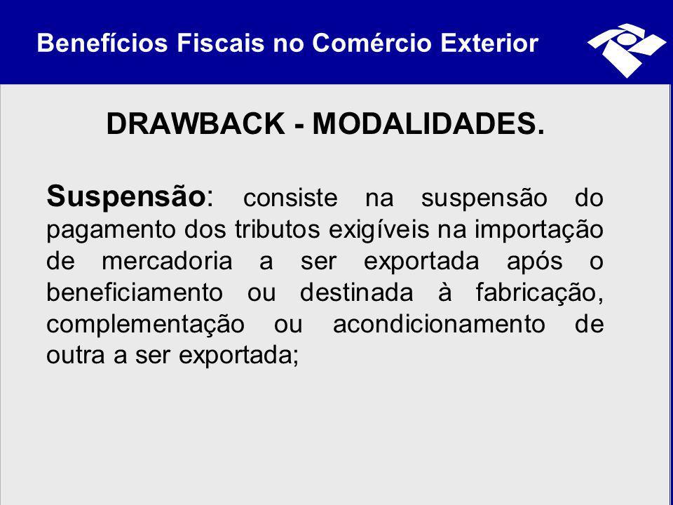Benefícios Fiscais no Comércio Exterior DRAWBACK - MODALIDADES. Suspensão: consiste na suspensão do pagamento dos tributos exigíveis na importação de