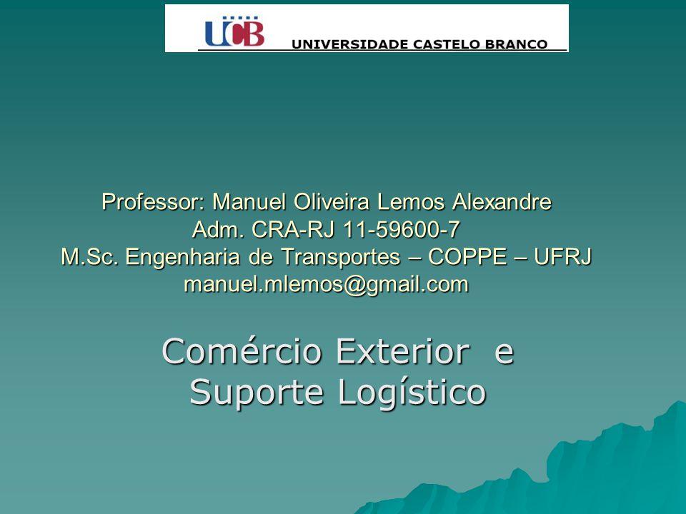 Professor: Manuel Oliveira Lemos Alexandre Adm. CRA-RJ 11-59600-7 M.Sc. Engenharia de Transportes – COPPE – UFRJ manuel.mlemos@gmail.com Comércio Exte