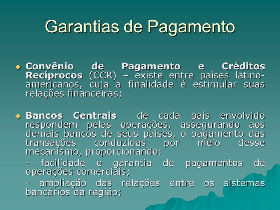 Garantias de Pagamento  Convênio de Pagamento e Créditos Recíprocos (CCR) – existe entre países latino- americanos, cuja a finalidade é estimular sua