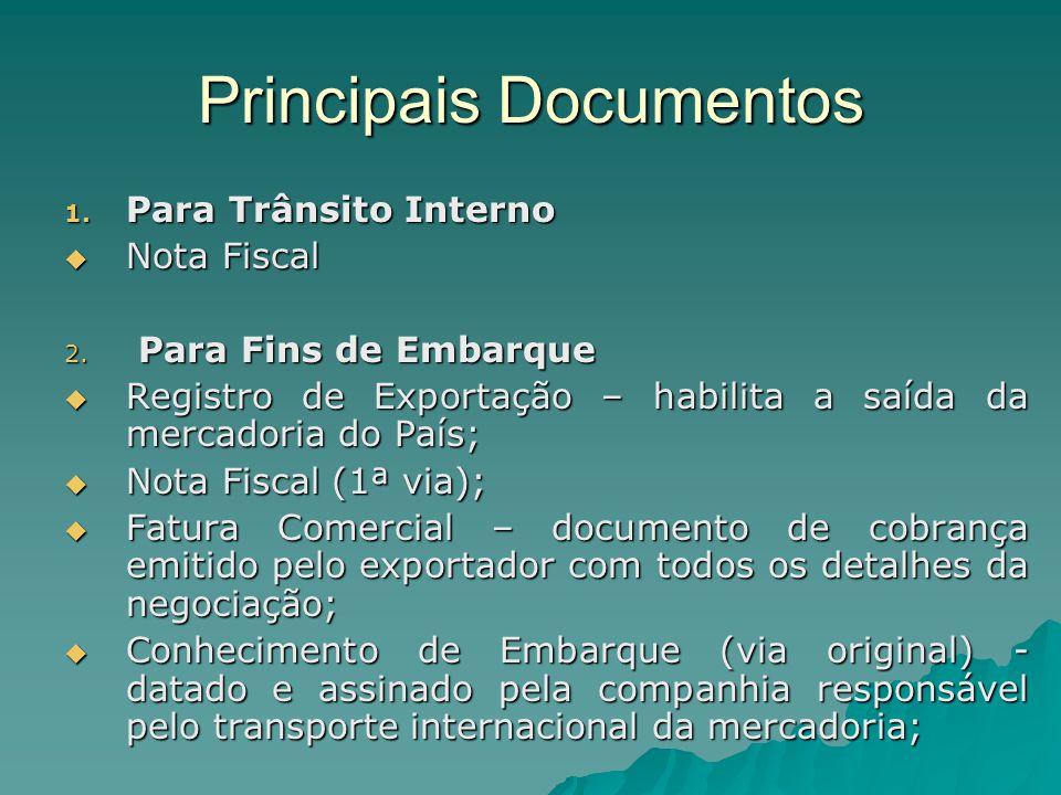 Principais Documentos 1. Para Trânsito Interno  Nota Fiscal 2. Para Fins de Embarque  Registro de Exportação – habilita a saída da mercadoria do Paí