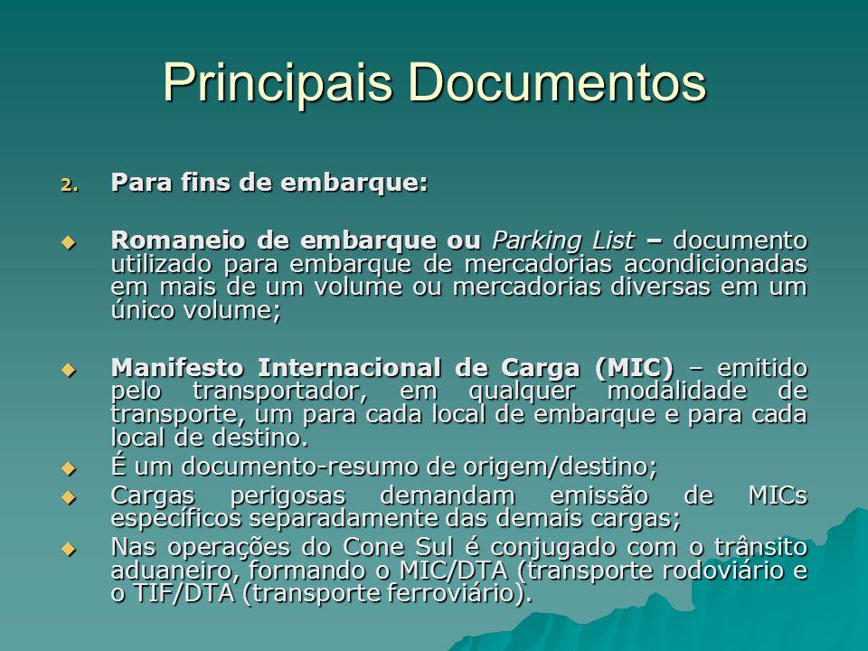 Principais Documentos 2. Para fins de embarque:  Romaneio de embarque ou Parking List – documento utilizado para embarque de mercadorias acondicionad