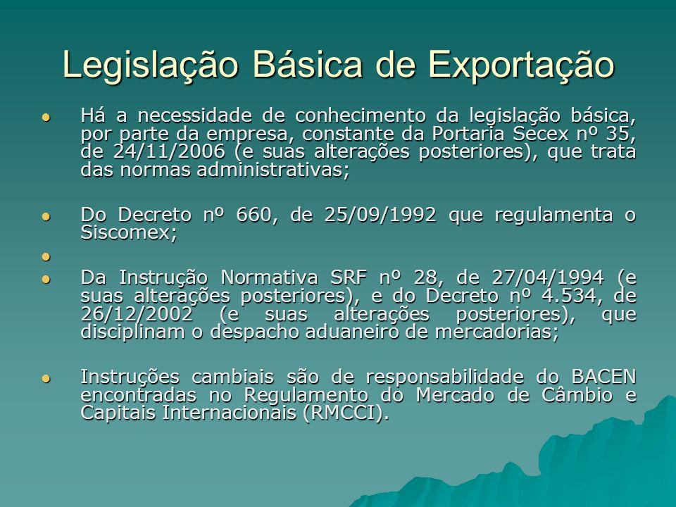 Legislação Básica de Exportação Há a necessidade de conhecimento da legislação básica, por parte da empresa, constante da Portaria Secex nº 35, de 24/