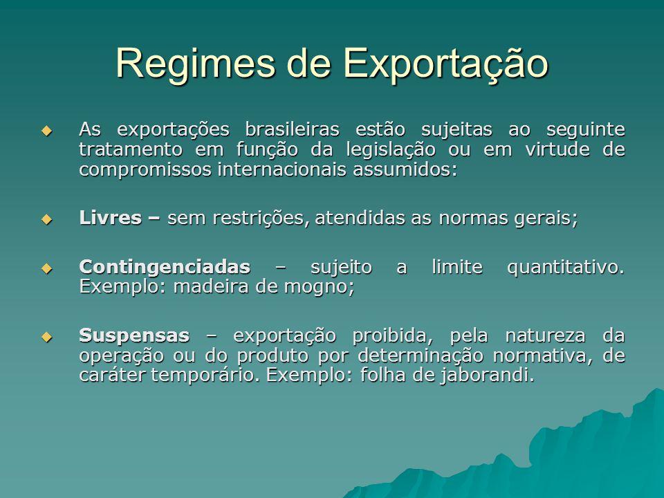 Regimes de Exportação  As exportações brasileiras estão sujeitas ao seguinte tratamento em função da legislação ou em virtude de compromissos interna