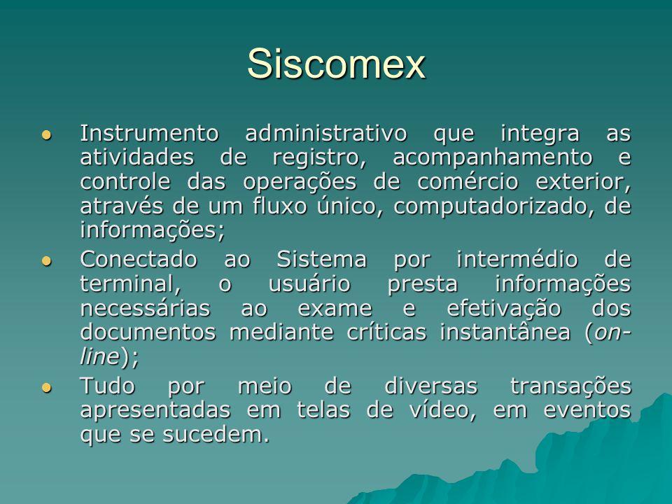 Siscomex Instrumento administrativo que integra as atividades de registro, acompanhamento e controle das operações de comércio exterior, através de um