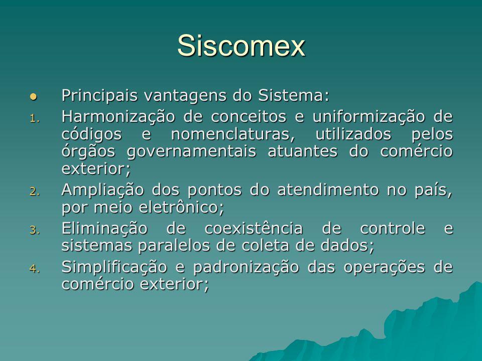 Siscomex Principais vantagens do Sistema: Principais vantagens do Sistema: 1. Harmonização de conceitos e uniformização de códigos e nomenclaturas, ut