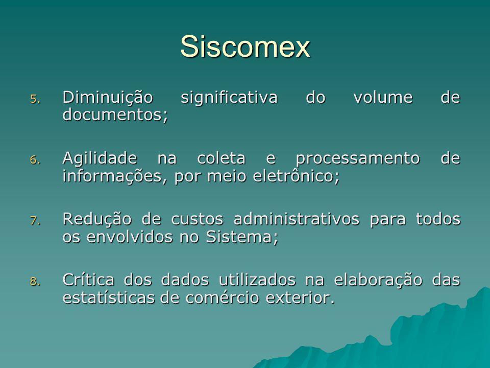 Siscomex 5. Diminuição significativa do volume de documentos; 6. Agilidade na coleta e processamento de informações, por meio eletrônico; 7. Redução d