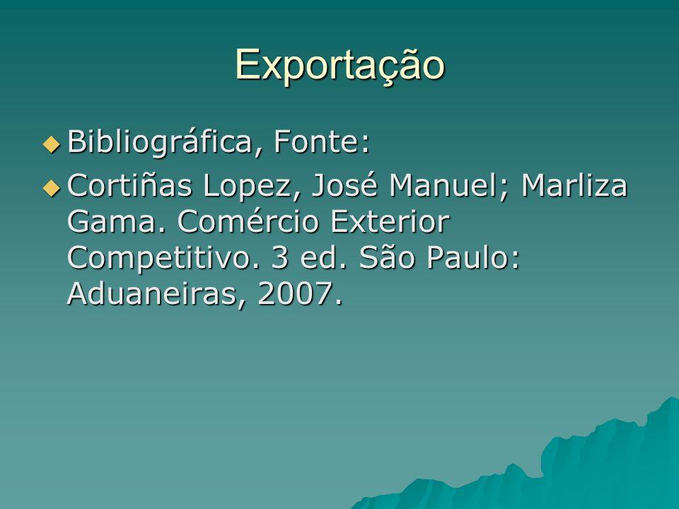 Exportação  Bibliográfica, Fonte:  Cortiñas Lopez, José Manuel; Marliza Gama. Comércio Exterior Competitivo. 3 ed. São Paulo: Aduaneiras, 2007.