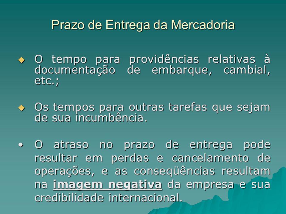 Prazo de Entrega da Mercadoria  O tempo para providências relativas à documentação de embarque, cambial, etc.;  Os tempos para outras tarefas que se